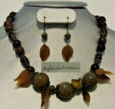 """Mountain Foliage"" Brass and Ceramic, Czech Glass Necklace & Earrings 19"""