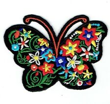 Butterfly - Silhouette Flowers - Iron on Applique Embroidered Patch - 697113-A