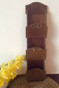 Vintage Wooden Wall Mounted Letter Rack with Key Hooks