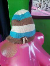 Womens Animal Woolen Bow Blue Striped Beanie Hat Surf Cornwall Activewear Skater