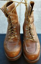 Vtg Chippewa Original Full Leather Brown USA Logger Work Boots Sz 12.25L 4.25W