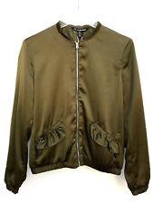 Zara Khaki Flowing Jacket With Frills Size Small