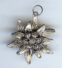 Flower Charm or Pendant Vintage 3D Sterling Silver Edelweiss