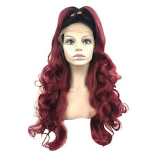 24'' Women Front Lace Wig Ombre Burgundy Synthetic Hair Wavy Heat Safe Wine Red
