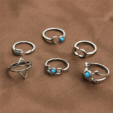 6PCS/Set CHEAP Vintage Womens Jewelry Silver Plated Above Knuckle Band Midi Ring