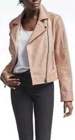 NWT Banana Republic Womens Heritage Blush Leather Moto Jacket LightPink M $599