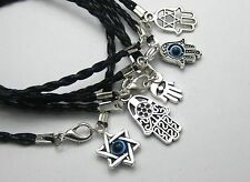 10 Mixed Kabbalah Hamsa Hand Charms Black Leatheroid Braided String Bracelets