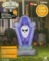 "4.5' Gemmy Inflatable Short Circuit Scary Skull ""The End Is Near"" Tombstone"