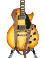 "1 1/4"" Wide Dark Brown Saddle Leather Buckle Guitar Strap"