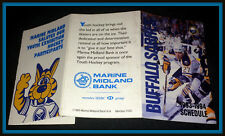 1993-94 BUFFALO SABRES MARINE MIDLAND BANK HOCKEY POCKET SCHEDULE FREE SHIPPING
