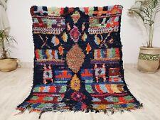 "Vintage Handmade Moroccan Square Rug  4'2""x5'5"" Tribal Berber Patchwork Blue Rug"