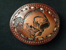 "MINT! Bass Fishing TOOLED LEATHER Belt BUCKLE Oval 3""x4"" Fish QUALITY- Western"