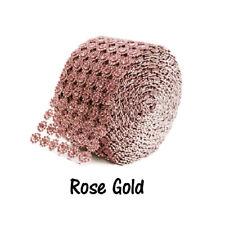 Rose Gold Diamond Flower Bling Mesh Rhinestone Decoration Ribbon Wrap 4 inch