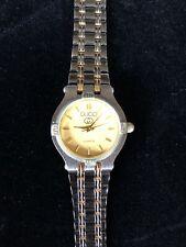 Vintage Gucci Ladies Two Tone Gold Stainless Steel Bracelet Dress Watch New Batt
