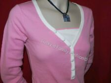 NEW pink & white long sleeve spring summer cotton top smart casual wear Size 8