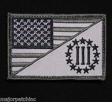 Three Percenter Usa American Flag Us Isaf Army Morale Tactical Swat Velcro Patch