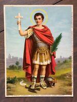 Original Antique Religious Print Picture Saint Expeditus German 1939 Seiber