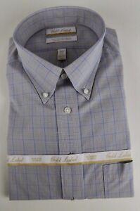 Roundtree & Yorke Gold Label Non Iron EZ Wash Glen Plaid Dress Shirt NWT $75