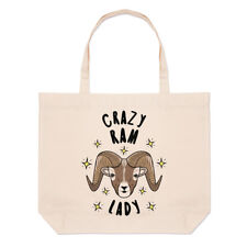 Crazy Ram Lady Stars Large Beach Tote Bag - Funny Animal Shoulder Shopper
