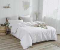 Washed Linen Cotton Duvet Cover Set Soft Bedding Vintage Breathable Winter DH