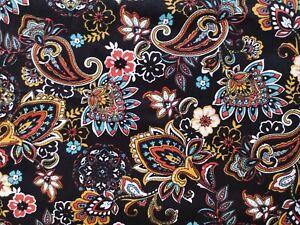 0.5M Black Multi Floral Paisley Fabric Material Cotton Poplin Patchwork 1/2M