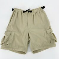 REI Mens Outdoor Hiking Nylon Cargo Shorts Belted Tan Sz M