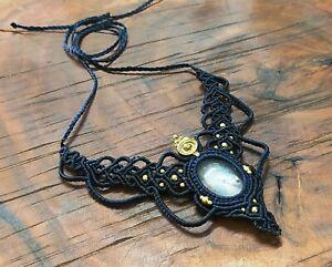 Macrame Necklace Brass Pendant Jewelry Rose Quartz Cabochon Stone Handmade