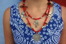 Antique Guatemalan Coins and Venetian White Heart Trade Bead Chachal Necklace