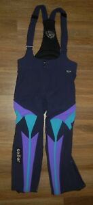 Vtg SEILLER Blue/Purple SKI BIBS Snow Board Pants Size Kids YOUTH MEDIUM 80 x 76