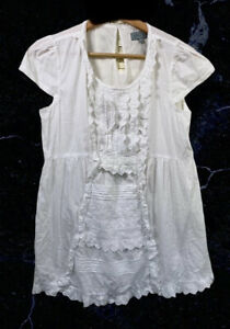 Jigsaw White Peasant Frill Smocked Blouse Top 100% Indian Cotton Summer (8 UK)