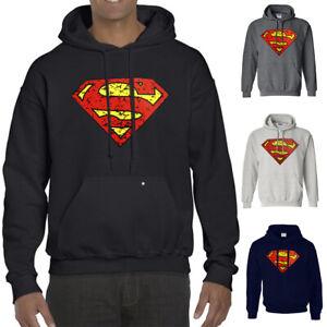 NWT SUPERMAN JUSTICE LEAGUE MARBLED LOGO MEN'S BLACK HOODIE SWEATSHIRT 184