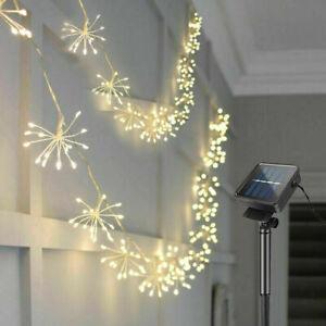 50/100 LED Lichterkette Außen Solar Feuerwerk Beleuchtung Garten Party Deko