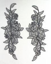 Venise Lace Sequins & beaded Applique Trim Motif : Colour Black #7