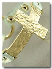 Beautiful Gold Hammered Cross Bracelet on Aqua Shimmer Leather Band