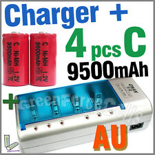 4 x C Size 9500mAh Battery + Rechargeable Charger D AA AAA 2A 3A 9V NIMH AU Red