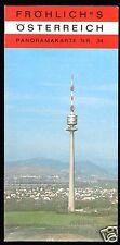 Österreich, Panoramakarte 34, Wien, Umgebung mit Wienerwald (Version 2), um 1980