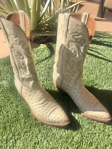 Lucchese Full Quill Ostrich Ivory Western Mens Boots Size 11 Rare Ivory Color