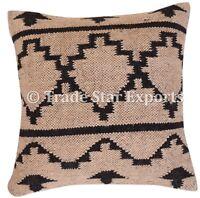 Indian Handwoven Kilim Cushion Cover 18x18 Vintage Handmade Jute Rug Pillow Case