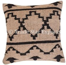 Indian Handwoven Kilim Cushion Cover 18x18 Vintage Handmade Jute Rug Pillow Case