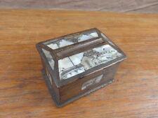 ANCIENNE BOITE A CIGARETTES EN BOIS DECOR EN NACRE vers 1900 / TABAC TOBACCO BOX