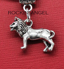 Antique Silver Plt Lion Pendant Necklace Mens Ladies Gift Animal Cat Wildlife
