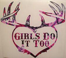 Wild Love Pink Camo Girls Do It Too Heart Antler Truck Mud Vinyl Decal Hunt Deer