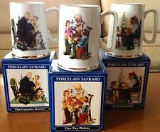 Set of 3 Vintage Norman Rockwell 1986 Porcelain Tankards Mugs - New in Boxes