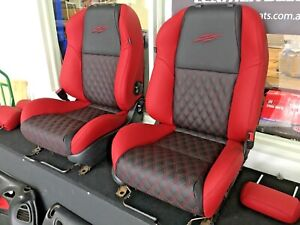 HOLDEN CREWMAN GENUINE 100% LEATHER SEATS UPHOLSTERY TRIM KIT VY / VZ SS RED BLK