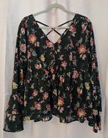 True Craft Women's Bohemian Black Floral Bell Sleeve Blouse - Size XL