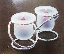 PartyLite Silver Plate Gemini Twin Votive Candle Holders, Nib