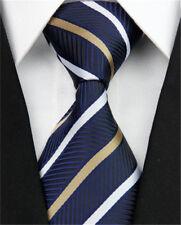 Mens Skinny Wedding Silk Tie Striped Slim Business Necktie Blue Black Ties Men
