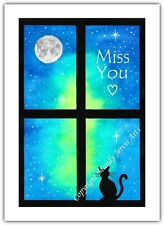 Miss You Cat Stars Night Watercolour Print Greeting Card Birthday Notelet Blank