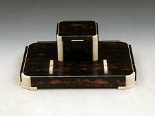 Art Deco Coromandel Inkstand inkwell Desk Tidy Pen Rest