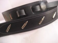 UNIQUE BLACK LEATHER BULLET CONCHOS GUITAR/BASS STRAP